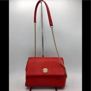 Metrocity Red Leather Gold Chain Crossbody Bag